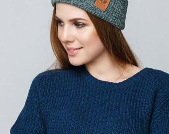 Women's Knit Hat / Mens Knit Hat / Winter Hat / Knitted Beanie / Melange Green Grey Hat
