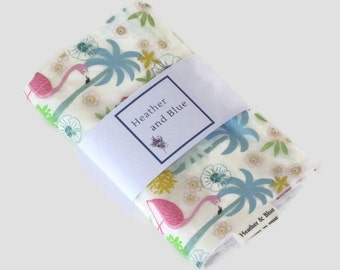 Flamingo burp cloths gift set, baby burp cloths, pack of two, baby boy or baby girl burp cloths, modern baby shower gift