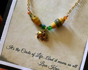 Lion King Inspired Elephant Charm Necklace,  African Paper Beads, Musical Theatre Jewelry