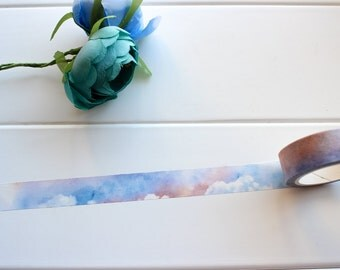 Sky Washi Tape, Sunrise  Sunset Washi Tape, Blue Washi Tape, Pretty Watercolour Washi Tape, Cloud Stickers (NT-127)