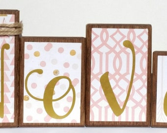 Name blocks, Baby Name Blocks, White, Pink, Gold, Baby Shower, Baby Gift, Personalized, Wood Blocks, Family Name Blocks