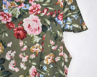 Vintage floral dress, 90s flower pattern dress, summer dress with cap sleeves, roses dress, botanical dress, garden party dress