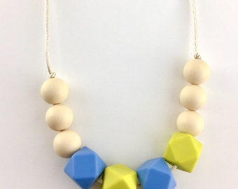 Pear-Blue-Hexagone Silicone Teething necklace-non toxic necklace-sensory beads