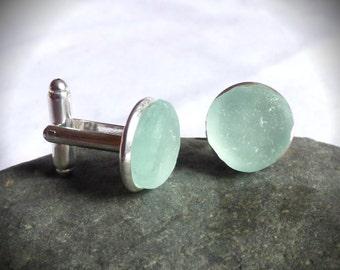 Seafoam Cuff Links, Sea Glass Jewelry, Seaglass Cufflinks, Man Gift, Men Gift, Groom, Green, Blue, Seaglass Jewelry, Cufflink, Link -AF17002