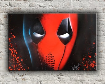 Deadpool painting Marvel art DC comics Super heroes Deadpool picture Spray paint art Geek gift Marvel gift Gift for him Wall art Blood art
