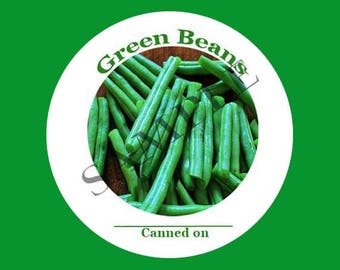 Green Beans Round Canning Label #L361