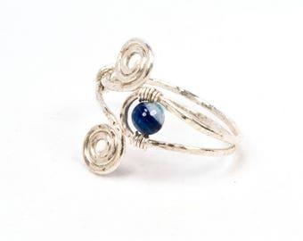 Swirls fine adjustable ring, silver wire wrapped jewelry, unique jewellery handmade birthday gift, women, girl, friendship love delicate