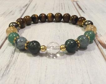 Abundance And Prosperity 7 Gemstone Bracelet, Intention Bracelet, 7 Best Crystals for Manifestation, Attract Prosperity, Abundance, Success
