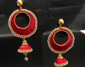 Indian Silk Jewelry - Maroon Silk Thread Earrings - Indian Bridal - Silk Thread Jewelry - Indian Jewelry - South Indian Jewelry - Kundan -