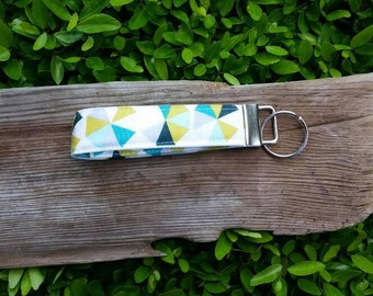 Modern triangle/hexagon blue and green key fob | key lanyard