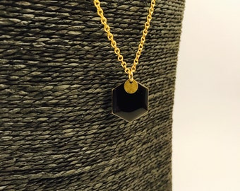 Gold, black enameled Pearl Necklace