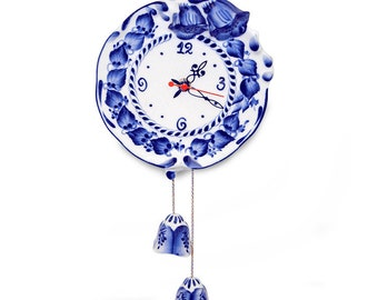 Wall clock. Ceramic watch.  Gzhel. Hand painting.