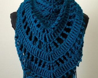 Teal scarf, teal Crocheted Shawl, triangle shawl, triangle scarf