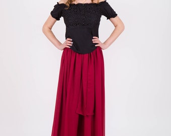 Chiffon Maxi skirt Burgundy skirt Maxi skirt Long skirt Skirt summer