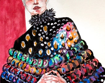 Clasped Hands - Original Artwork - Mixed Media Painting - Fashion Illustration