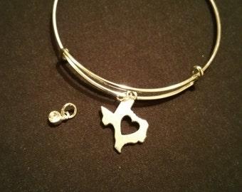I Love Texas Bangle Bracelet with personalized birthstone charm