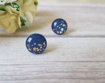 Navy and gold stud earrings, Navy blue earrings for sensitive ears, Birthday gift for bestfriend, Gold and blue earrings, Dark blue studs