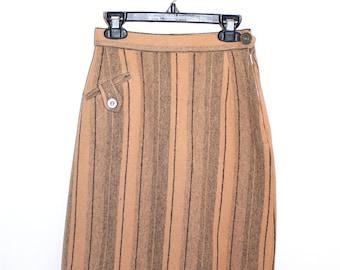 Vintage Clothing • 1950's Striped Pencil Skirt • Camel Skirt •Office Wear • Preppy Wool Skirt • Winkleman's