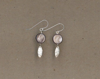 Shell with Sterling Silver Hammered Drop Earrings Handmade by Chris Hay