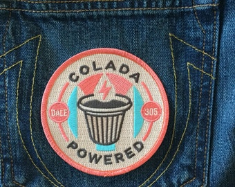 """3.5"""" Colada Powered - Cuban Coffee Embroidered Patch"""