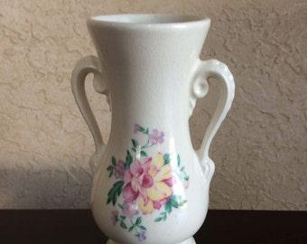 Royal Copley Vase Vintage Urn Vase Two Handled Decal Underglaze Pink & Yellow Flower Sebring Ohio Spaulding China Wedding Table Bud Vase
