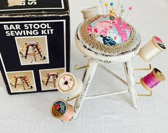 Pin Cushion,Vintage Bar Stool Sewing Kit, Sewing Kit, Sewing Notions, 1985 Vintage Sewing Kit, Custom Sewing Kit