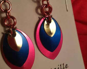 Pink/Blue/Gold 3 Graduated Scale Earrings