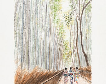 "Watercolor Kyoto ""Sunday at Arashiyama"", art print"
