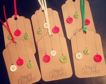 6 Christmas Button Ornament Tags