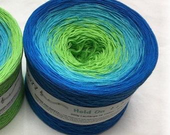 Hold On - Blue Crochet Yarn - Blue Knitting Yarn - Wolltraum Yarn - Blue Ombré Yarn - Cotton Yarn - Acrylic Yarn - Ombre Yarn - Green Cotton