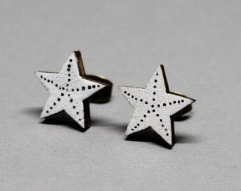 Wooden Ear Studs - Starfish Black & White 12mm