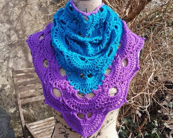 Hand Crocheted Colour Block Virus Shawl/Triangle Scarf