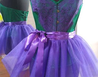 Emerald Green and Purple Lace Duchess Satin Corset - 100% silk