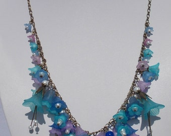 Blue & Lilac Lucite Flower Necklace