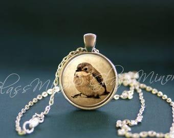 Sparrow Pendant, Bird Necklace, Steampunk Antique Wanderlust, Woodland Jewelry, Bird lovers pendant, Black Bird Crow Pendant, Gift for Her
