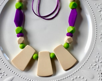 Native Tribe Mommy Teething / Nursing Necklace Purple and Green Color Block Statement Necklace Tribal Mom Breastfeeding