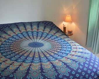 Double Mandala Patterned Throw/Wall Hanging in Navy Blue and Teal Green