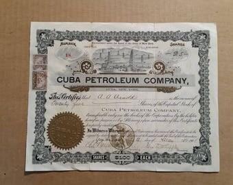 Cuba Petroleum Co.Cuba,N.Y.,Stock Certificate,1901