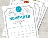 VINTAGE Printable Desk Calendar 2017 2018 Digital Instant Download Typography Antique Retro French Monthly Planner Downloadable PDF
