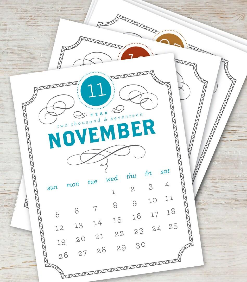 Vintage Calendar 2017 Printable : Vintage printable desk calendar  digital instant