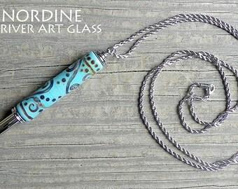 Handmade Art Glass Reversible Seam Ripper Necklace . Turquoise Scrolls . Lampwork . Julie Nordine . Credit River Art Glass . SR115