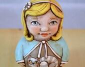 Roly Poly Alice in Wonderland Cheshire Cat Original Hand Painted Folk Art Doll Paper Mache Sculpture OOAK