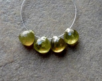 AAA Vesuvianite Faceted Heart Briolettes - 7mm - 4 Beads