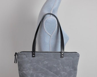 Grey and Black Waxed Canvas Zippered Tote Bag Purse with Black Leather Handles