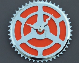Bicycle Gear Clock - Vintage Orange  |  Bike Clock  | Wall Clock | Recycled Bike Parts Clock