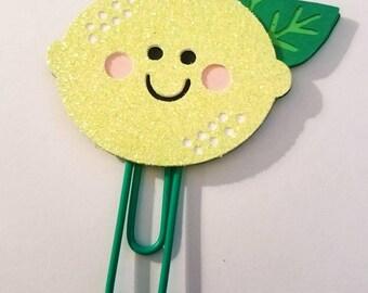 Smirkles by Picks & Stones Designs/ Lemon paperclip/ Glitter paperclip