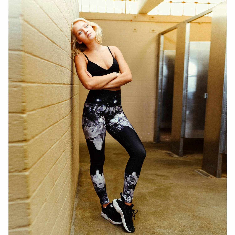 Crystal Printed Yoga Leggings Workout Pants Healing