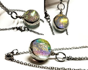 Luminous Glass Orb Jewelry Skeleton Leaf Necklace Dichroic Rainbow Glass Ball Necklace Romantic Gift Idea Girlfriend Minimalist