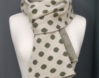 Spotted Cashmere Scarf - Fern Green and Cream