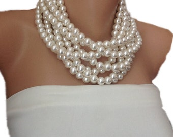 Multi Layer Pearl Necklace,Brides Necklaces, pearl necklace